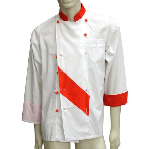 Giacca cuoco con intarsio colorato