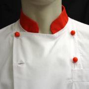 Giacca cuoco con intarsio colorato particolare